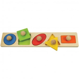 Puzzle a hlavolamy - Puzzle vkládací - Barevné tvary s úchytem, 5ks (Bigjigs)