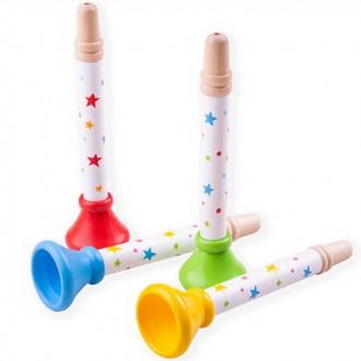 Dřevěné hračky - Hudba - Trumpetka dřevěná hvězdičky, 1ks (Bigjigs)