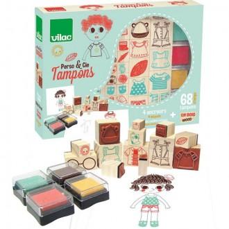 Dřevěné hračky - Razítka dřevěná - Oblékání a doplňky (Vilac)