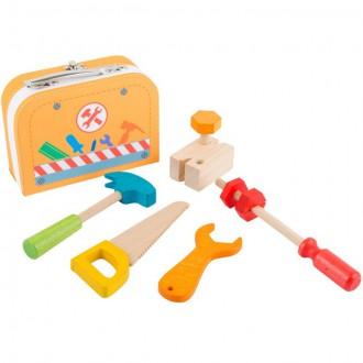 Dřevěné hračky - Malý kutil - Kufřík opravář s dřevěným nářadím (Legler)