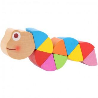 Dřevěné hračky - Drobné hračky - Had do kapsy, Červík duhový (Legler)