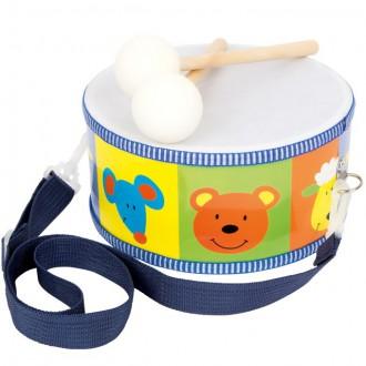 Dřevěné hračky - Hudba - Bubínek dřevěný, Zvířátka (Legler)