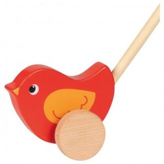 Dřevěné hračky - Jezdík na tyči - Ptáček červený dřevěný (Goki)
