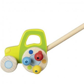 Dřevěné hračky - Jezdík na tyči - Traktor zelený dřevěný (Goki)