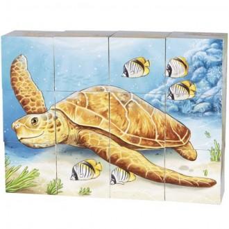 Stavebnice - Kostky obrázkové 12ks - Australská zvířátka (Goki)