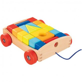 Dřevěné hračky - Kostky - Barevné ve vozíku, Color, 20ks (Goki)