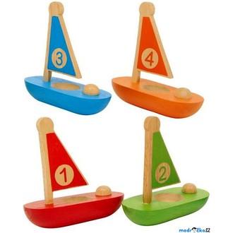 JIŽ SE NEPRODÁVÁ - Drobné hračky - Plachetnice s čísly, 4ks (Legler)