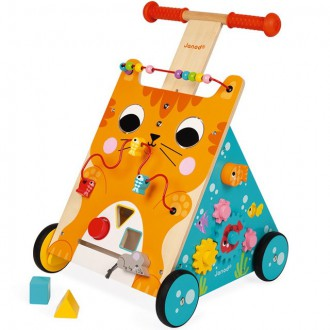 Pro nejmenší - Chodítko dřevěné - Motorický set, Kočka (Janod)