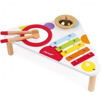 Dřevěné hračky - Hudba - Hudební stoleček, Barevný (Janod)