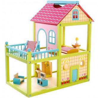 Dřevěné hračky - Domeček pro panenky - Vila Anna s vybavením (Bino)