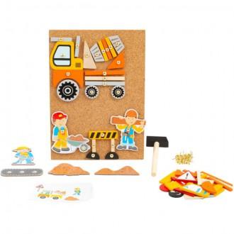 Dřevěné hračky - Hra s kladívkem - Deska s přibíjecími tvary, Stavba (Legler)