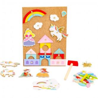 Dřevěné hračky - Hra s kladívkem - Deska s přibíjecími tvary, Jednorožec (Legler)
