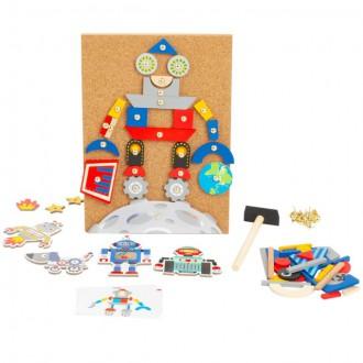 Dřevěné hračky - Hra s kladívkem - Deska s přibíjecími tvary, Roboti (Legler)