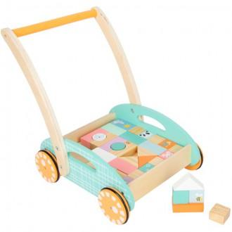 Pro nejmenší - Kostky - Barevné ve vozíku, Chodítko pastelové, 34ks (Legler)