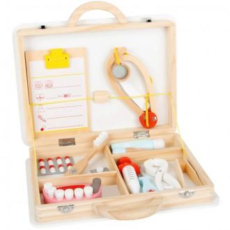 Dřevěné hračky - Doktor - Set v kufříku, Zubař a doktor 2v1  (Legler)