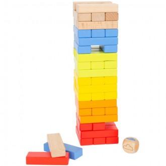 Dřevěné hračky - Jenga barevná - Duhová s kostkou dřevěná (Legler)