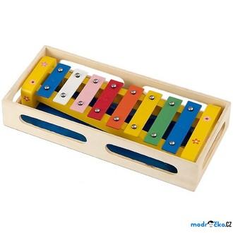 Dřevěné hračky - Hudba - Xylofon 8 tónů, Kovový v přepravce, Žlutý (Woto)