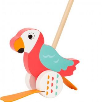 Dřevěné hračky - Jezdík na tyči - Plácačka, Papoušek Lori (Legler)