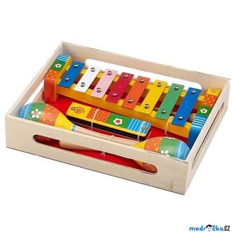 Dřevěné hračky - Hudba - Muzikální set, Květiny, 3 nástroje (Woto)
