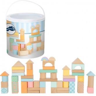 Stavebnice - Kostky - Barevné v kyblíku, Pastelové, 50ks (Legler)