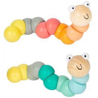 Dřevěné hračky - Drobné hračky - Had do kapsy, Červík pastelový, 1ks (Legler)