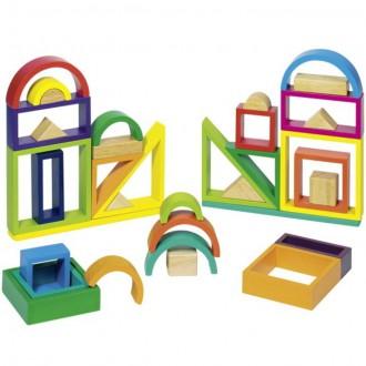 Stavebnice - Kostky - S průhledy, Duha geometrické tvary, 38ks (Goki)