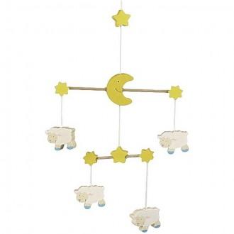 Dřevěné hračky - Kolotoč závěsný dřevěný - Ovečky (Goki)