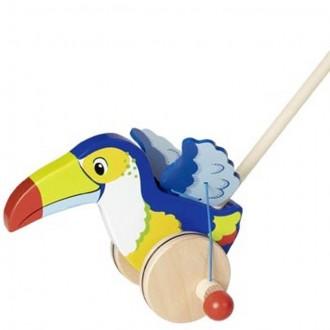 Dřevěné hračky - Jezdík na tyči - Tukan dřevěný (Goki)