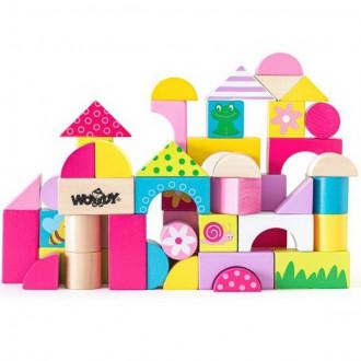 Stavebnice - Kostky - Barevné, Trendy, 50ks (Woody)