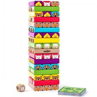 Dřevěné hračky - Jenga barevná - S zvířátky Sammy (Woody)
