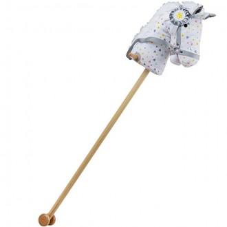 Dřevěné hračky - Koňská hlava na tyči - Bílá vzorovaná s kokardou (Bigjigs)