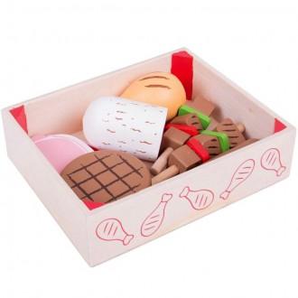 Dřevěné hračky - Dekorace prodejny - Uzeniny v krabičce dřevěné (Bigjigs)