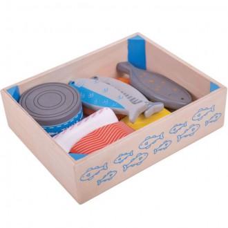 Dřevěné hračky - Dekorace prodejny - Mořské plody v krabičce dřevěné (Bigjigs)