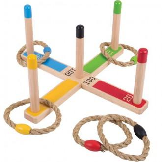 Na ven a sport - Hra s kroužky - Házení kroužků na kříž v pytlíku (Bigjigs)