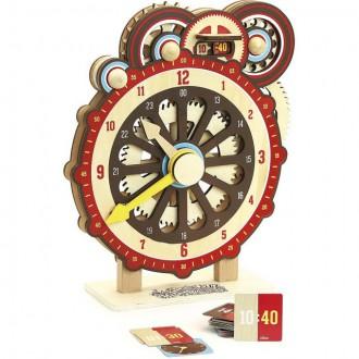 Dřevěné hračky - Hodiny - Dřevěné didaktické s ozubenými koly (Vilac)
