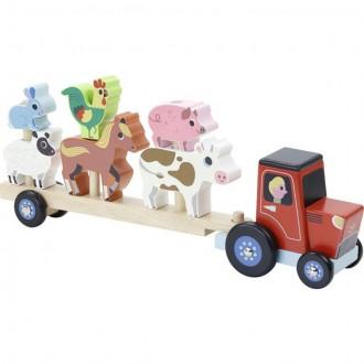 Dřevěné hračky - Auto - Nasazovačka traktor se zvířátky dřevěný (Vilac)