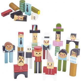 Stavebnice - Kostky - Barevné v kyblíku, Postavičky, 50ks (Vilac)