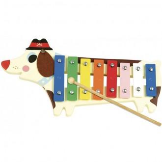 Dřevěné hračky - Hudba - Xylofon 8 tónů, Kovový, Pejsek (Vilac)