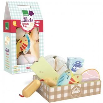 Dřevěné hračky - Dekorace prodejny - Sada čerstvých potravin (Vilac)