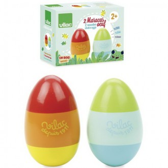 Dřevěné hračky - Hudba - Chrastící vajíčka, barevné, 2ks (Vilac)