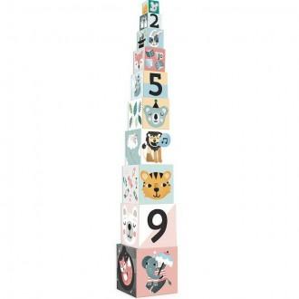 Ostatní hračky - Pyramida z kartónu - Zvířátka s čísly, 10 kostek (Vilac)