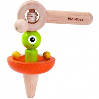 Dřevěné hračky - Dřevěná hračka - Káča létající talíř (PlanToys)