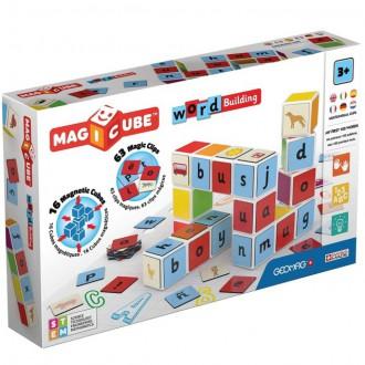 Stavebnice - Geomag - Magicube, Word Building 16 kostek + 63 klipů