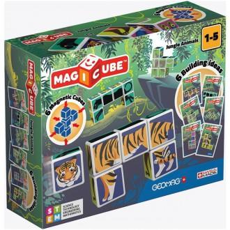 Stavebnice - Geomag - Magicube, Jungle Animals 6 kostek