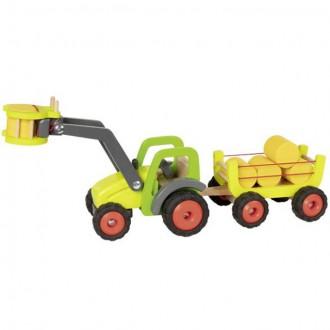 Dřevěné hračky - Auto - Dřevěný traktor s nakladačem a vlečkou, 55cm (Goki)
