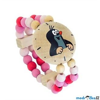 Dřevěné hračky - Dřevěná bižuterie - Hodinky s Krtkem, růžové (Detoa)