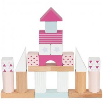 Stavebnice - Kostky - Barevné v kyblíku, Lifestyle růžová, 50ks (Goki)