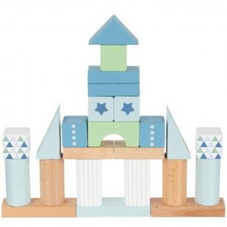 Stavebnice - Kostky - Barevné v kyblíku, Lifestyle modrá, 50ks (Goki)