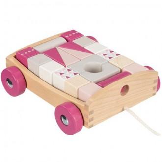 Stavebnice - Kostky - Barevné ve vozíku, Lifestyle růžová, 20ks (Goki)