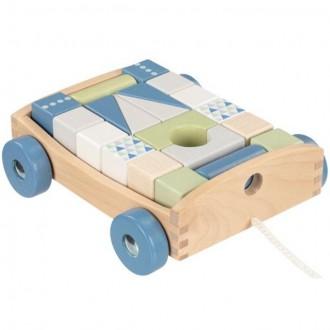 Stavebnice - Kostky - Barevné ve vozíku, Lifestyle modrá, 20ks (Goki)